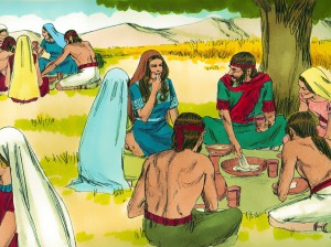 Ruth shares meal with Boaz and workers Sweet Publishing. FreeBibleImages.org