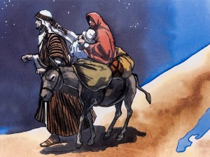 Flight to Egypt for baby Jesus