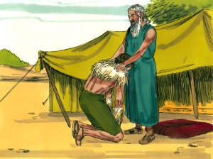 Jacob disguised as Esau receives blessing