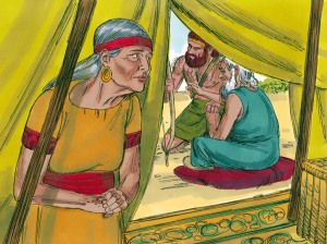 Rebekah listens as Isaac directs Esau