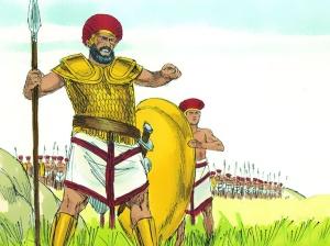 David witnesses Goliath's challenge