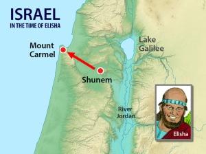Map showing Shunem and Mt Carmel