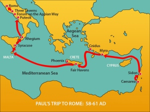 Paul's route to Rome from Caesarea